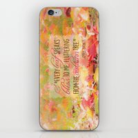 poem iPhone & iPod Skins featuring Autumn Leaves Poem by Graphic Tabby