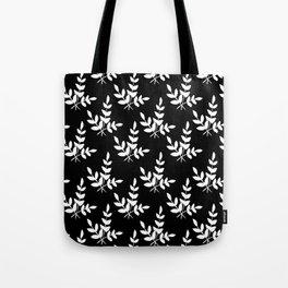 Modern black white leaves floral illustration Tote Bag