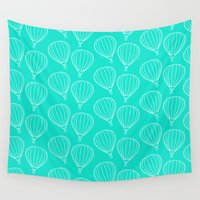 hot air balloons Wall Tapestries featuring CUTE HOT AIR BALLOONS by Allyson Johnson