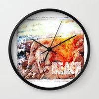 chicago bulls Wall Clocks featuring Beach Bulls by Zhineh Cobra