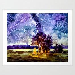 Camp-fire under the Milky Way  Art Print