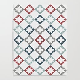 Modern Farmhouse Quilt Pattern Vintage Inspired NorthStar and Diamond Harlequin Print Poster