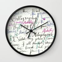 calligraphy Wall Clocks featuring Calligraphy Spill by Louis Franz