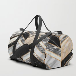 Abstract Chevron Pattern - Black and White Marble Duffle Bag