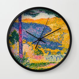 Henri-Edmond Cross Neo-Impressionism Pointillism Valley with Fir Shade on the Mountain Oil Painting Wall Clock