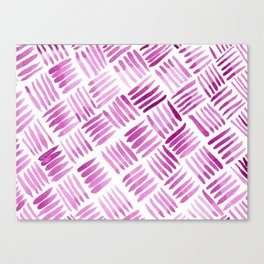 Hand Painted Classic Basketweave Pattern Raspberry Pink Canvas Print