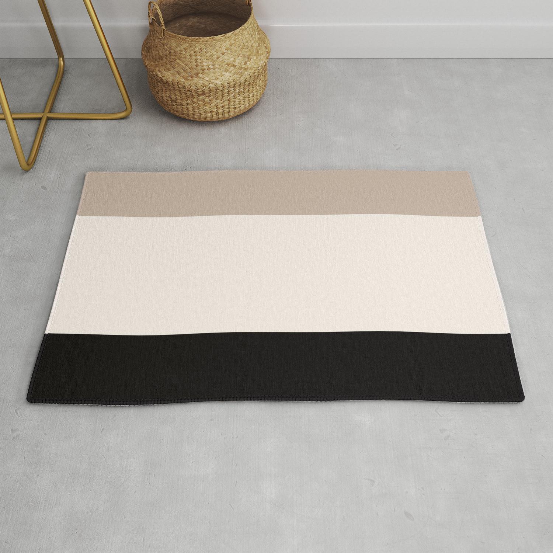 Black Tan Cream Bold Stripes Rug By