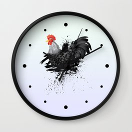 Grunge Black Rooster Wall Clock