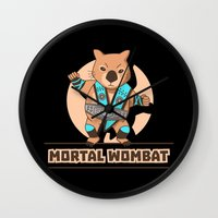 the mortal instruments Wall Clocks featuring Mortal Wombat by Sombras Blancas Art & Design