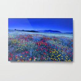 Spring poppies at blue hour Metal Print