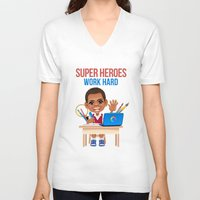 super heroes V-neck T-shirts featuring Super Heroes Work Hard by youngmindz