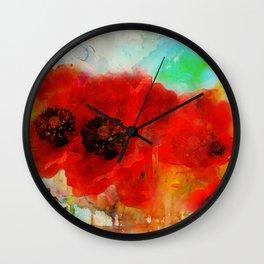 Champ de coquelicots Wall Clock
