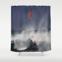 surfboard Shower Curtains featuring Let's go fly a surfboard on the North Shore. by alex preiss