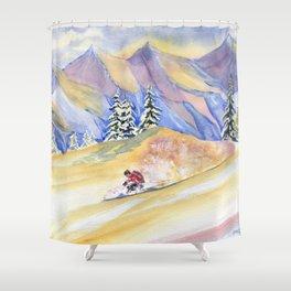 Powder Skiing Art Shower Curtain