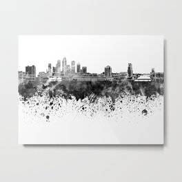 Tampa skyline in black watercolor Metal Print