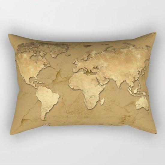 world map marble gold 3 Rectangular Pillow
