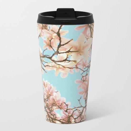 Pink Magnolia Metal Travel Mug