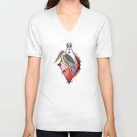 "crane V-neck T-shirts featuring ""CRANE"" by Magdalena Sky - The Moth"