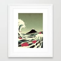 yetiland Framed Art Prints featuring Go with the flow by Yetiland