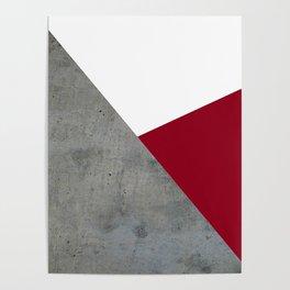 Concrete Burgundy Red White Poster