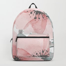 Watercolor, Floral, Coral and Gray Backpack