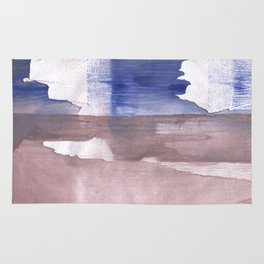 Beige Blue abstract watercolor texture Rug