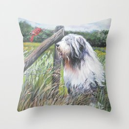 beautiful Bearded Collie dog art from an original painting by L.A.Shepard Throw Pillow