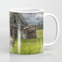 Old Vintage Pickup in front of an Abandoned Farm House Coffee Mug