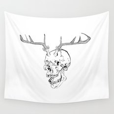Skull With Antlers Wall Tapestry