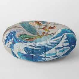 Tadatsune's Journey to Mount Fuji Floor Pillow