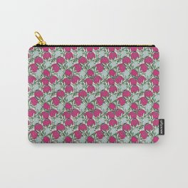 Leaves Protea (Pink On Blue) Carry-All Pouch