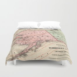 Vintage Map of Alaska and Russia (1869) Duvet Cover