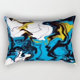 Dreamscape 01 in Blue, White & Gold Rectangular Pillow