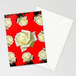 WHITE ROSES RED GARDEN DESIGN Stationery Cards