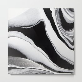 Abstract Black and White Fluid Painting Metal Print