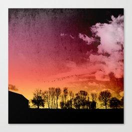 rural silhouettes Canvas Print