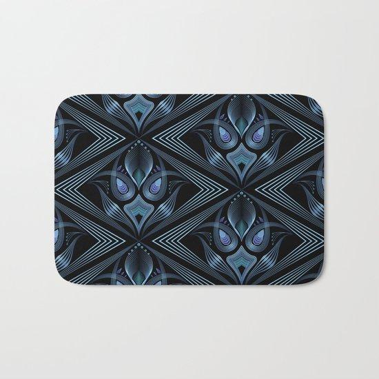 Art Deco 37. Black-blue satin . Bath Mat