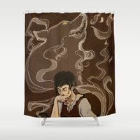 the hound Shower Curtains featuring Hound by Ellen Fox