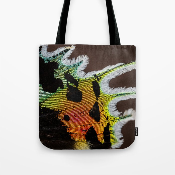 Wing of a Madagascan Sunset Moth, Shimmering with the Vivid Imagination of Nature Tote Bag