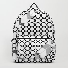 Embossedfeathersblackhollowcircles Backpack