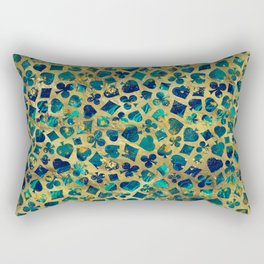 Gold and Marble Suits Pattern Digital Art Rectangular Pillow