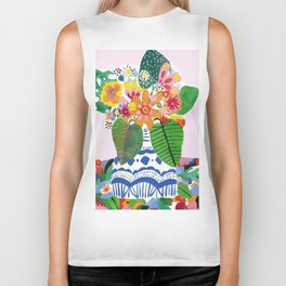Abstract Flower Bouquet Biker Tank