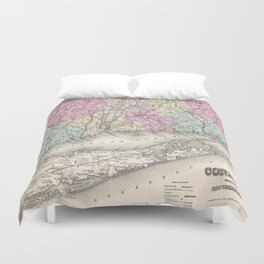 Vintage Map of Connecticut (1857) Duvet Cover