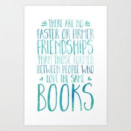 Bookish Friendship - Blue Art Print
