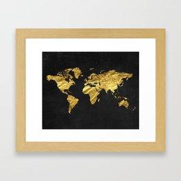 Black Gold Decor, Gold World Map, Office Decor, Bathroom, Glam, Black Wall Art Framed Art Print