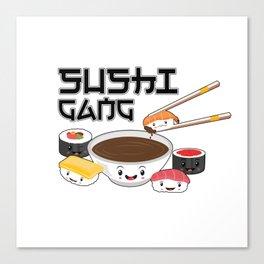 Sushi Gang Kawaii Japanese Sashimi Maki Nigiri Soy Sauce Canvas Print