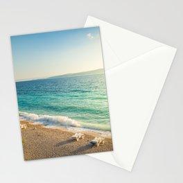 Beach in croatian coast, blue sea. Aerial view Stationery Cards