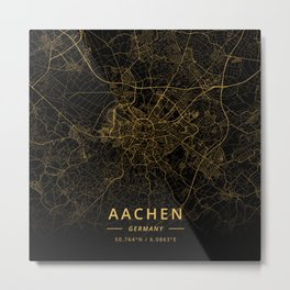 Aachen, Germany - Gold Metal Print