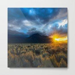Taos Twinkle - Sun Peeks Over Mountain in Taos New Mexico Metal Print