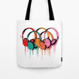 Colorful Headphones Tote Bag